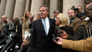Former Connecticut Gov. John G. Rowland and his wife, Patty, talk to reporters outside U.S. District Court in New Haven, Conn., Thursday, Dec. 23, 2004. Rowland pleaded guilty to a single count of conspiracy to steal honest services. He is to be sentenced in March, 2005. (AP Photo/Bob Child)