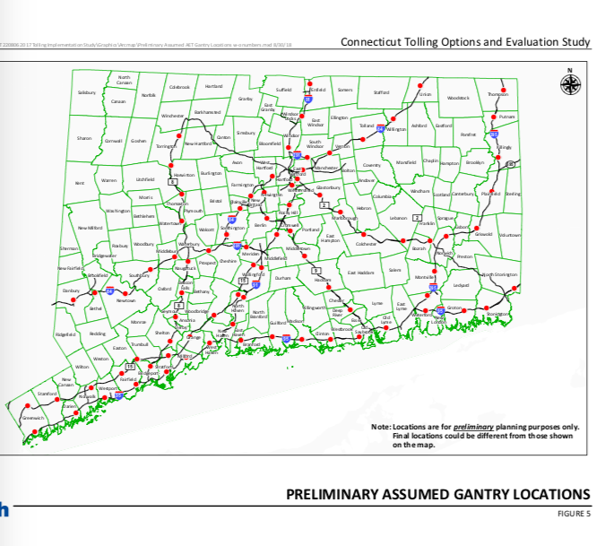 New CTDOT Study Calls for 82 Tolling Gantries on Connecticut Highways